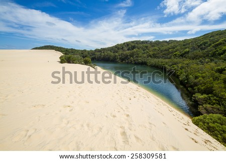 Fraser Island lake Wabby and sand dunes   - stock photo