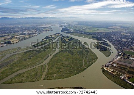 Fraser River and its islands in the Fraser Valley - stock photo