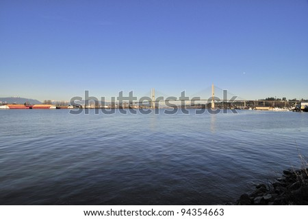Fraser River in Sunny Winter Afternoon - stock photo