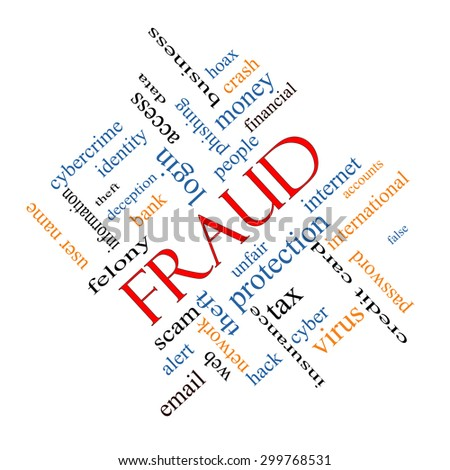 Fraud Word Cloud Concept angled with great terms such as alert, identity, theft and more. - stock photo