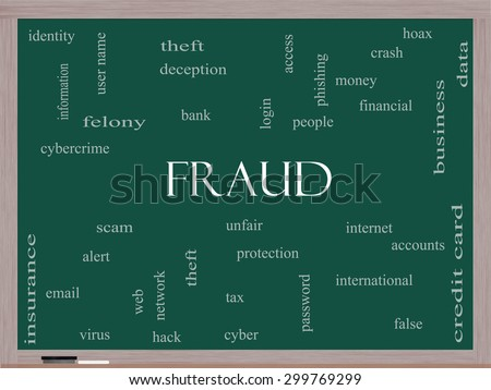 Fraud Word Cloud Concept on a Blackboard with great terms such as alert, identity, theft and more. - stock photo