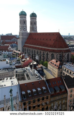 Frauenkirche, Aerial view of Munich, Germany