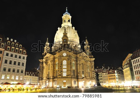 Frauenkirche at night - Dresden, Germany - stock photo