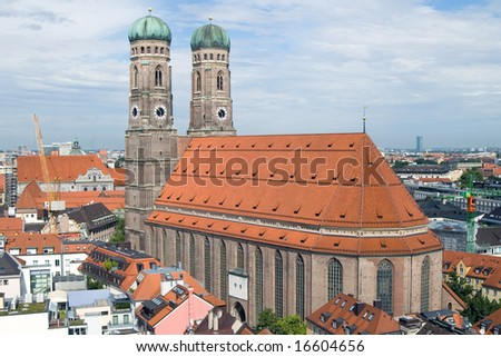 Frauenkirche Cathedral Church in Munich (Munchen), Germany. View from New Town hall (Neues Rathhaus) (1)