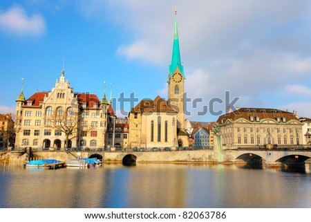 Fraumuenster Cathedral in Zurich - stock photo