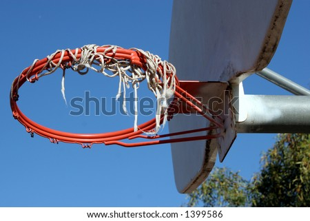 Frayed basketball hoop. - stock photo