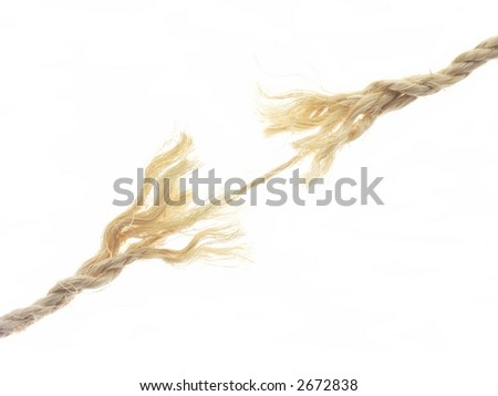 Frayed rope about to break, isolated on white. - stock photo