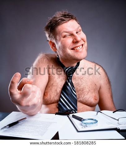 Freak shirtless businessman - stock photo