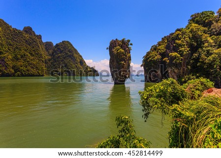 Freakish islands in the Andaman Sea. James Bond's island in the form of a vase. Fine rest in Thailand - stock photo