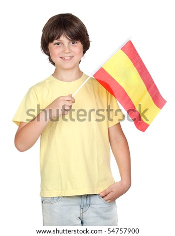 Freckled boy with spanish flag isolated on white background - stock photo
