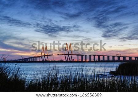 Fred Hartman Bridge during Twilight Houston Texas - stock photo