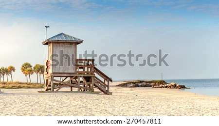 Fred Howard Beach Florida Lifeguard Stand  - stock photo