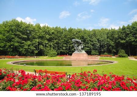 Frederic Chopin Monument. Chopin statue, Warsaw Lazienki Park - stock photo