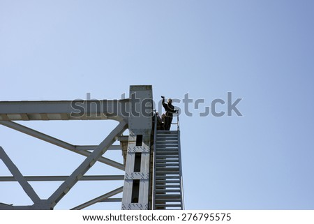 FREDERICIA, DENMARK - MAY 10, 2015: Bridgewalking Littlebelt. Official opening day. Crown Princess Mary on top of the bridge. - stock photo