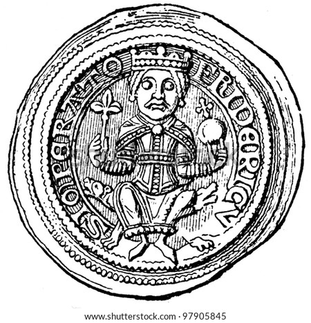 """Frederick 1 Barbarossa bracteates, 1152 - 1190 - an illustration to articke """"Coins"""" of the encyclopedia publishers Education, St. Petersburg, Russian Empire, 1896 - stock photo"""