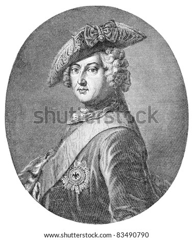Frederick II (1712-1786) was a King in Prussia and a King of Prussia. Engraving by unknown artist, published in Harper's Monthly Magazine in april 1884. - stock photo