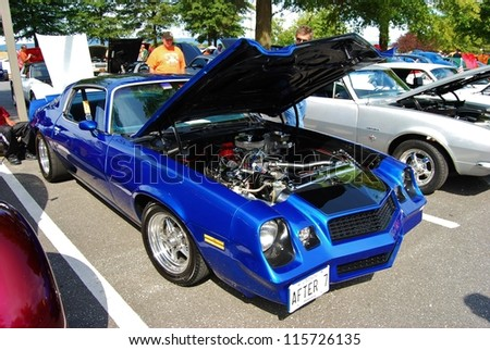 FREDERICK, MD- SEPTEMBER 16: 1979 Blue Chevrolet Camaro Coupe Engine on September 16, 2012 in Frederick , MD USA. Alzheimer's Association Benefit Car Show at MVA in Maryland.
