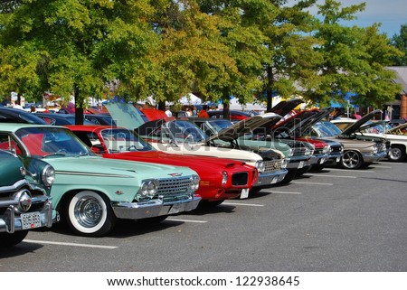 FREDERICK, MD- SEPTEMBER 16: Classic Car Show on Sept. 16, 2012 in Frederick , MD USA. Alzheimer's Association Benefit Car Show at Motor Vehicle Administration in Maryland. - stock photo