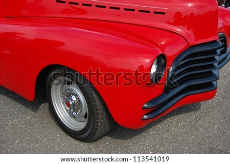 FREDERICK, MD- SEPTEMBER 16: 1941 Red Chevy Coupe on September, 2012 in Frederick , MD USA. Alzheimer's Association Benefit Car Show at Motor Vehicle Administration in Maryland. - stock photo