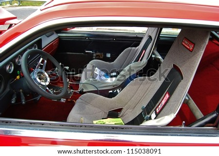 FREDERICK, MD- SEPTEMBER 16: 1980 Red Ford Mustang Interior on Sept. 16, 2012 in Frederick , MD USA. Alzheimer's Association Benefit Car Show at Motor Vehicle Administration in Maryland.