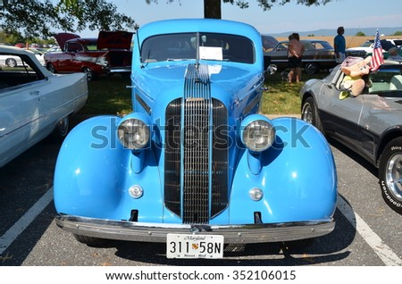 FREDERICK, MD- SEPTEMBER 16: Vintage Cars ,and Truck at a Car Show on September, 2015 in Frederick , MD USA. Alzheimer's Association Benefit Car Show at Motor Vehicle Administration in Maryland.