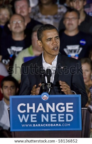 FREDERICKSBURG,VA -   FREDERICKSBURG,VA - SEPT 27: Democratic presidential candidate Barack Obama speaks to supporters at a rally on September 27, 2008 in Fredericksburg, Virginia. - stock photo
