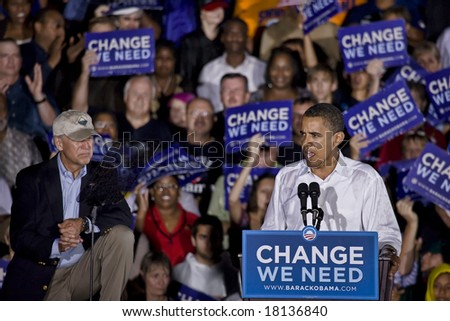 FREDERICKSBURG,VA - SEPTEMBER 27: Democratic presidential candidate Barack Obama & Democratic vice presidential candidate Joe Biden appear together for the first time in Virginia. - stock photo