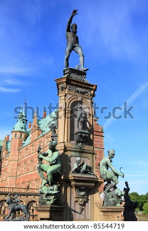 Frederiksborg castle fountain details, the largest Renaissance palace in Denmark and Scandinavia - stock photo
