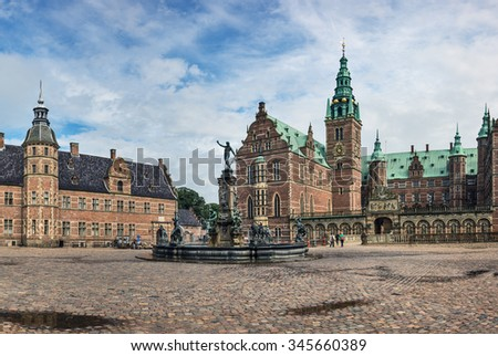 Frederiksborg Castle (Slott), a Baroque palatial complex in Hillerod, Denmark