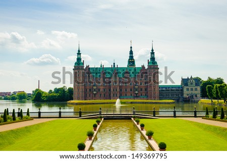 Frederiksborg Palace from the garden - stock photo