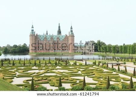 Frederiksborg Slot in Denmark, largest Renaissance castle in Scandinavia - stock photo