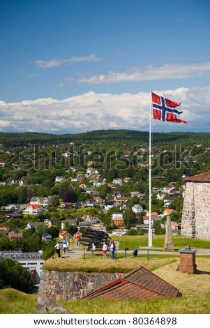 Fredriksten Fortress in Halden - stock photo