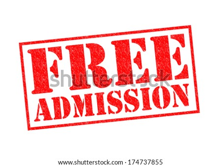 FREE ADMISSION red Rubber Stamp over a white background. - stock photo