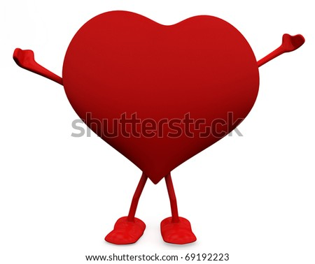 Free and Happy heart character. 3D Love concepts. - stock photo