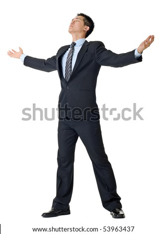 Free businessman open arms isolated on white background. - stock photo