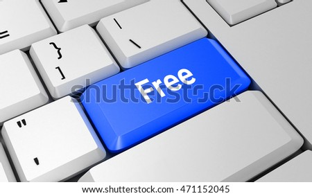 Free button. Keyboard. Blue key. Blue button. 3D rendering