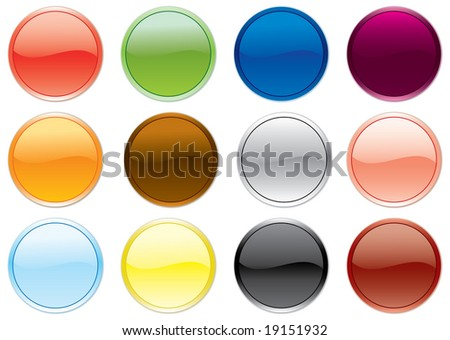 Free colored buttons set. Raster illustration.