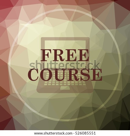 Free course icon. Free course website button on khaki low poly background.