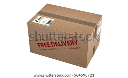 free delivery  cardboard box isolated on white  - 3d rendering