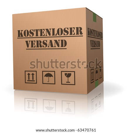 free delivery cardboard box package in German Kostenlos Versand parcel shipment