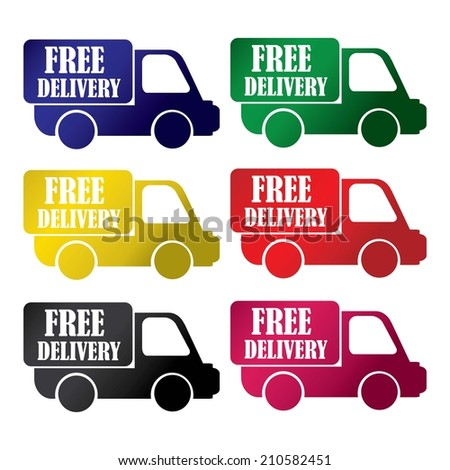 Free delivery colorful icons set.