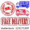 Free delivery grungy rubber stamp illustrations - stock photo