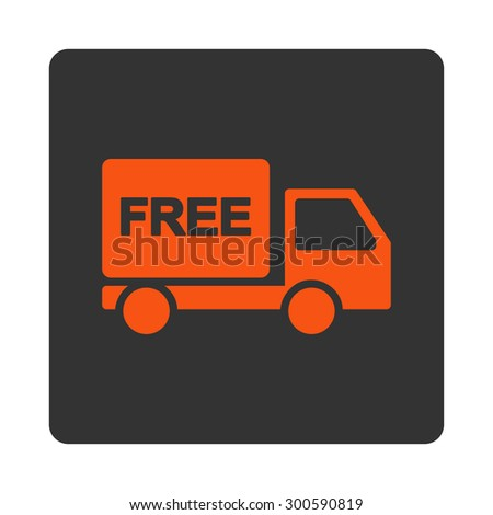 Free delivery icon. This flat rounded square button uses orange and gray colors and isolated on a white background. - stock photo