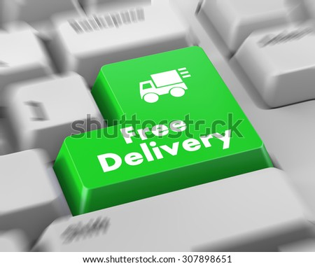free delivery key on laptop keyboard button - stock photo