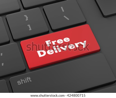 free delivery key on laptop keyboard button, raster, 3d rendering - stock photo