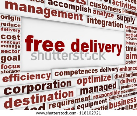 Free delivery message background. Free shipping poster word clouds concept