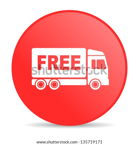 free delivery red circle web glossy icon - stock photo