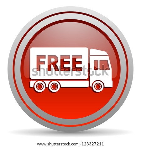 free delivery red glossy icon on white background - stock photo