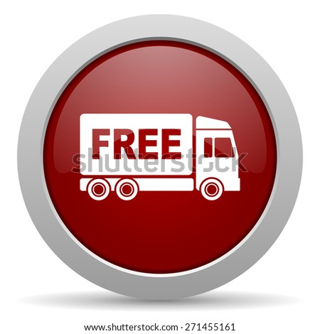 free delivery red glossy web icon  - stock photo