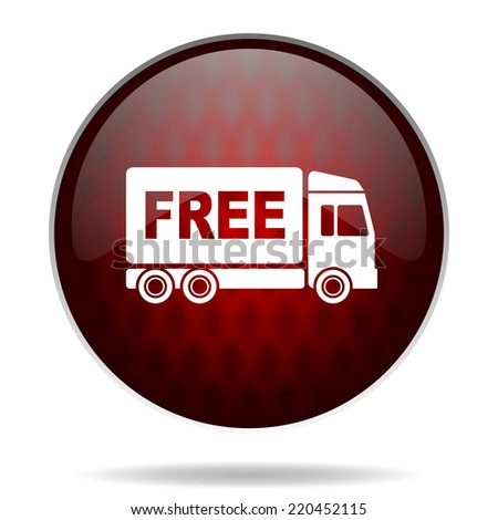 free delivery red glossy web icon on white background